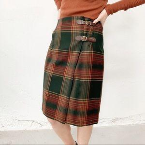 Lauren Ralph Lauren Tartan Pleated Skirt Wool Sz 6